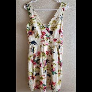 Garnet Hill Floral Sleeveless Wrap Spring Dress